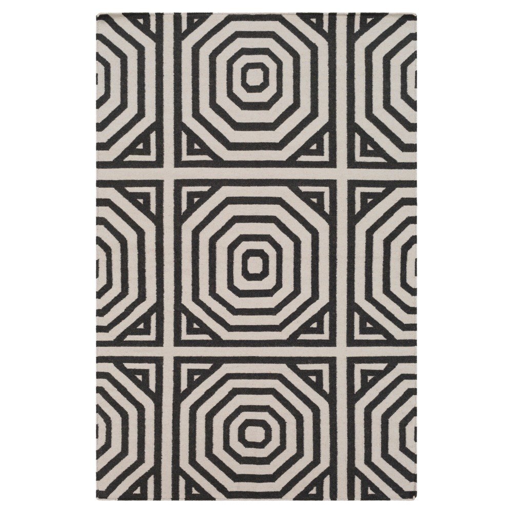 Charcoal (Grey) Solid Flatweave Woven Area Rug 8'x10' - Surya
