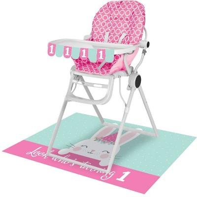 1st Birthday Bunny Print High Chair Kit