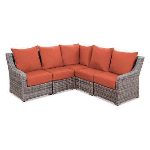 Cherry Hill 5pc All Weather Wicker Patio Sectional Seating Set Ae Outdoor