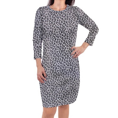Touched by Nature Womens Organic Cotton Long-Sleeve Dress, Snow Leopard