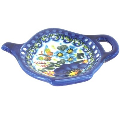 Blue Rose Polish Pottery Garden of Blue Tea Bag Holder