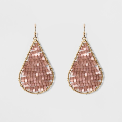 Teardrop With Seed Beads Earrings A New Day Blush Peach