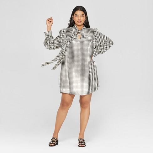 4e788912b0d Women s Plus Size Long Sleeve Tie Neck Mini Dress - Who What Wear™