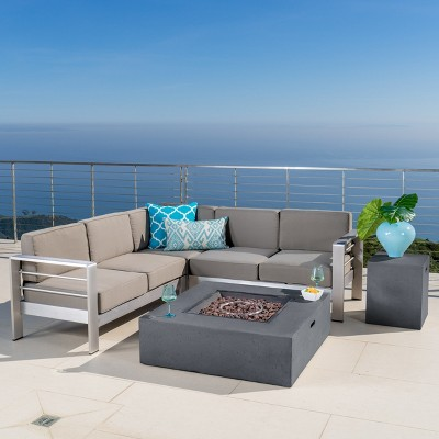 Cape Coral 5pc V-Shaped Sofa Set with Fire Table - Dark Gray/ Khaki - Christopher Knight Home