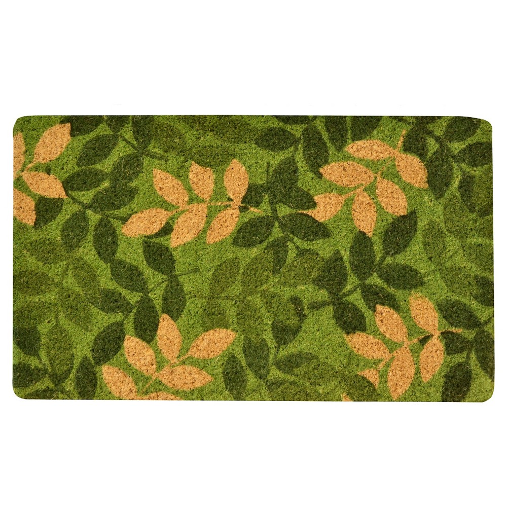 HomeTrax Coir Mat Doormat - Green Leaf (18 x 30)