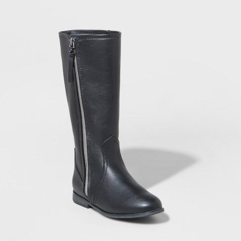Girls' Evelina Riding Tall Fashion Boots - Cat & Jack™ Black 3 - image 1 of 3