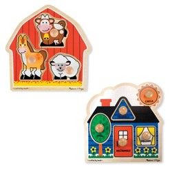 Melissa & Doug Jumbo Knob Wooden Puzzles Set - Shapes and Barn