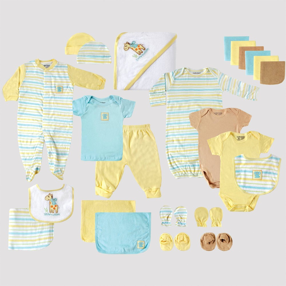 Image of Luvable Friends Baby 24pc Gift Cube Bodysuit - Yellow/Blue/Green 0-6M, Kids Unisex, Blue/Green/Yellow