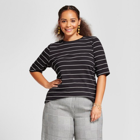 Women's Plus Size Short Elbow Sleeve T-Shirt - Who What Wear™ White/Black Stripe 3X - image 1 of 3