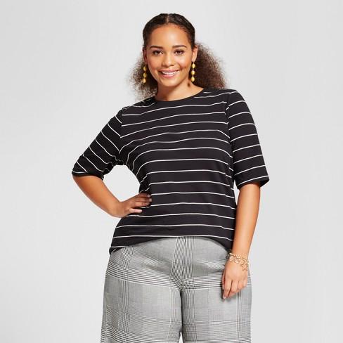 Women's Plus Size Short Elbow Sleeve T-Shirt - Who What Wear™ White/Black Stripe X - image 1 of 3