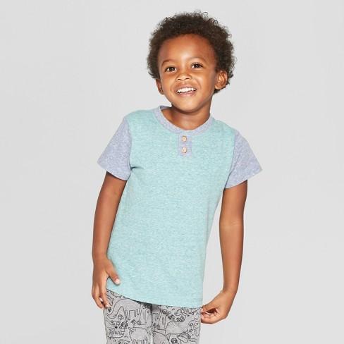 Toddler Boys' Colorblock Short Sleeve Henley - Cat & Jack™ Green 12M - image 1 of 3