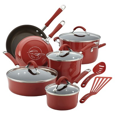 Rachael Ray Cucina Porcelain Aluminum Cranberry Red 12pc Cookset