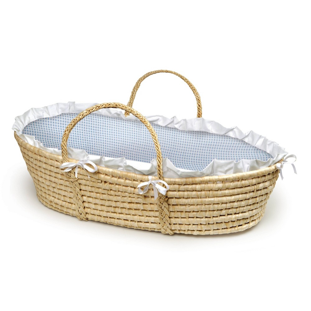 Badger Basket Natural Moses Basket Bedding - Blue Gingham Badger Basket's precious Moses Basket allows your infant to snooze near you wherever you are at home or when visiting friends. Everything you need is in the box to dress the basket with the cozy bedding and be ready for Baby's first days at home. Machine washable fabrics. Spot clean basket and wipe clean pad. Color: Blue. Gender: Male.