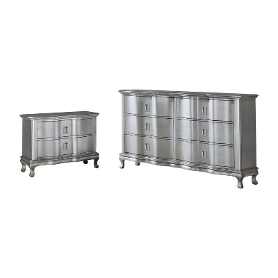 2pc Bentlee Nightstand and Dresser Set Silver - HOMES: Inside + Out