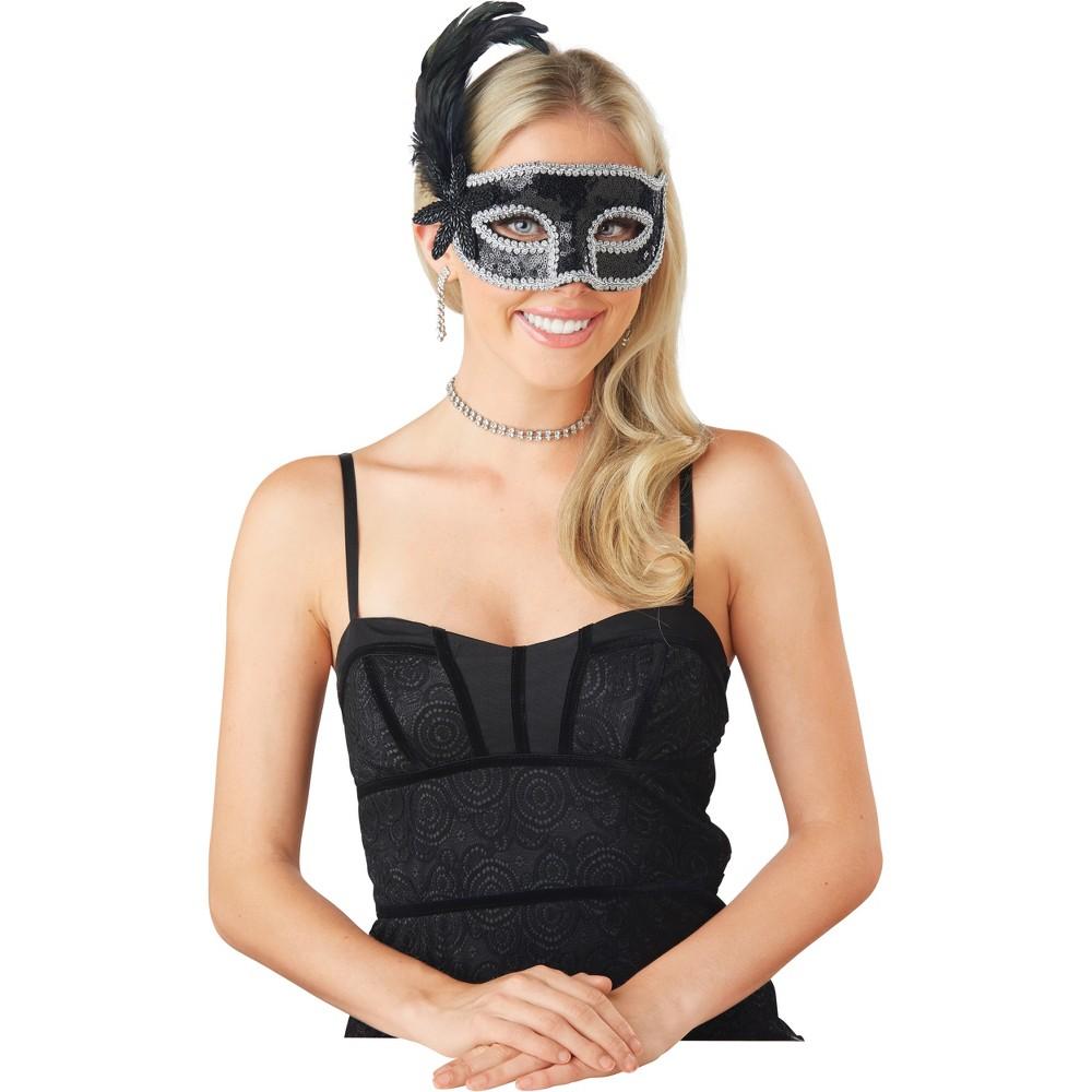 Women's Sequin Masquerade Mask Black New Year's Eve Accessory - Spritz, Multi-Colored