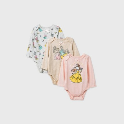 Baby Girls' 3pk Disney Princess Long Sleeve Bodysuit - Pink Newborn