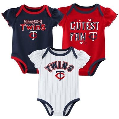 MLB Minnesota Twins Baby Girls' 3pk Bodysuit Set