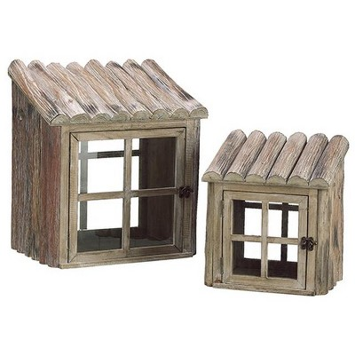 """Allstate Floral 17"""" Natural Rustic Nesting Outdoor Greenhouse Terrariums 2pc - Brown/Clear"""