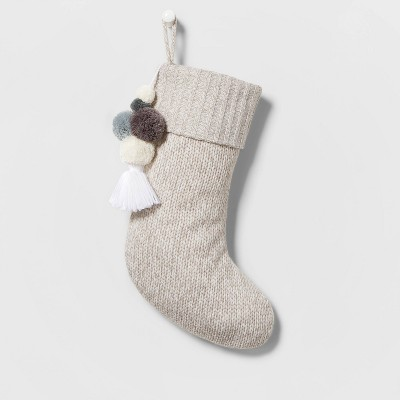 Marled Knit Christmas Stocking with Poms Gray - Wondershop™