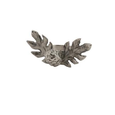 Silver Pinecone Design Rustic Lodge Style Napkin Ring Set of 4 - Saro Lifestyle