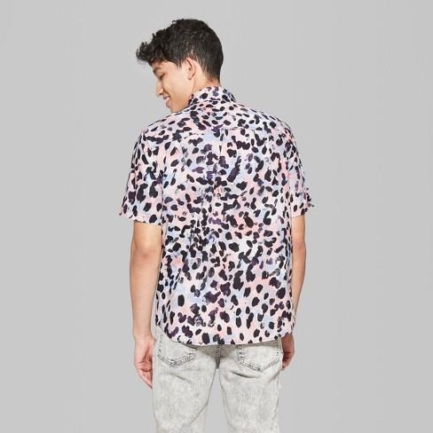 3041177acee3 Men's Leopard Print Short Sleeve Button-Down Shirt - Original Use™ Heirloom  Blue