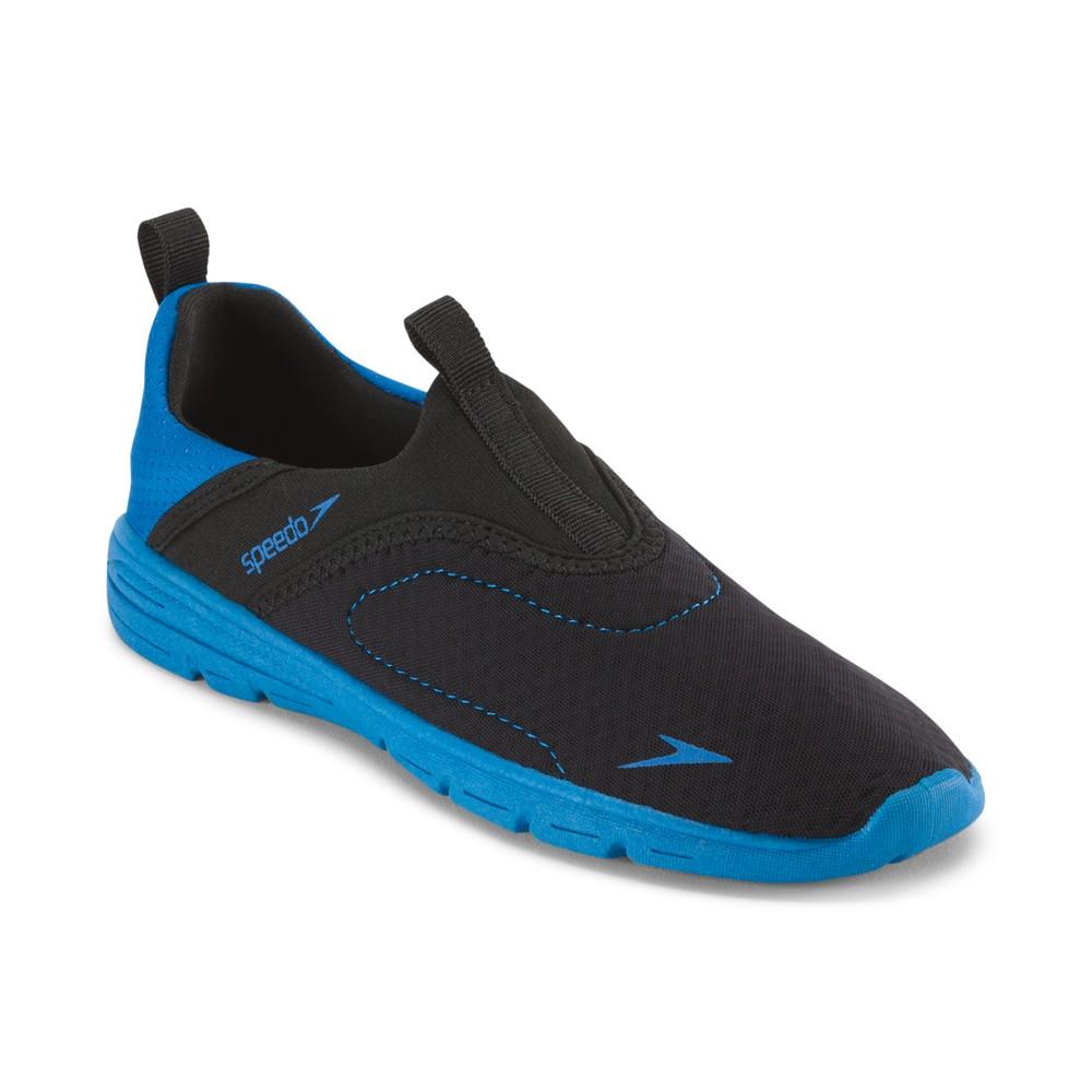 Speedo Jr Boys Aquaskimmer Water Shoes - Black/Blue (Large), Black Blue