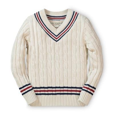 Hope & Henry Boys' White Tennis Sweater, Infant