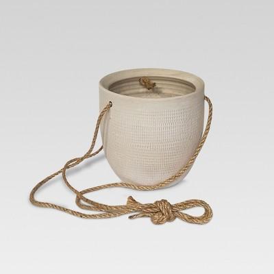 6  Textured Ceramic Hanging Planter - White - Threshold™