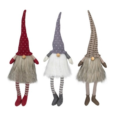 Northlight Set of 3 Sitting Christmas Gnomes with Dangling Legs 20""