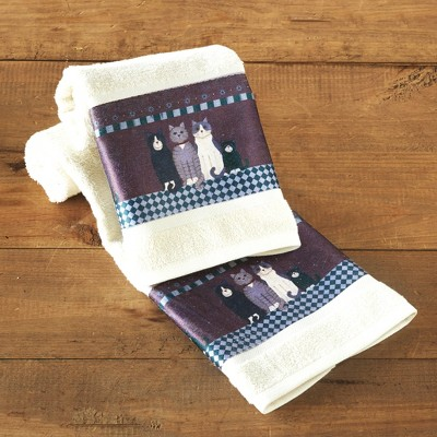 Lakeside Country Cats Hand Towels for the Bathroom or Kitchen - Set of 2