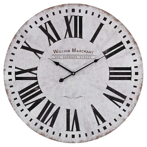 "William Marchant 24"" Round Wall Clock White/Black - Lazy Susan® - image 1 of 1"