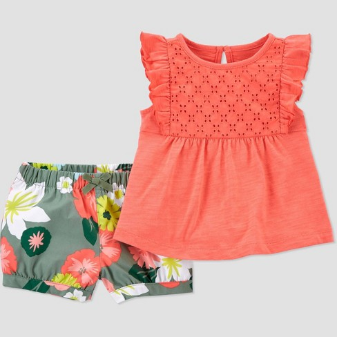Baby Girls' Floral Top & Bottom Set - Just One You® made by carter's Coral - image 1 of 2