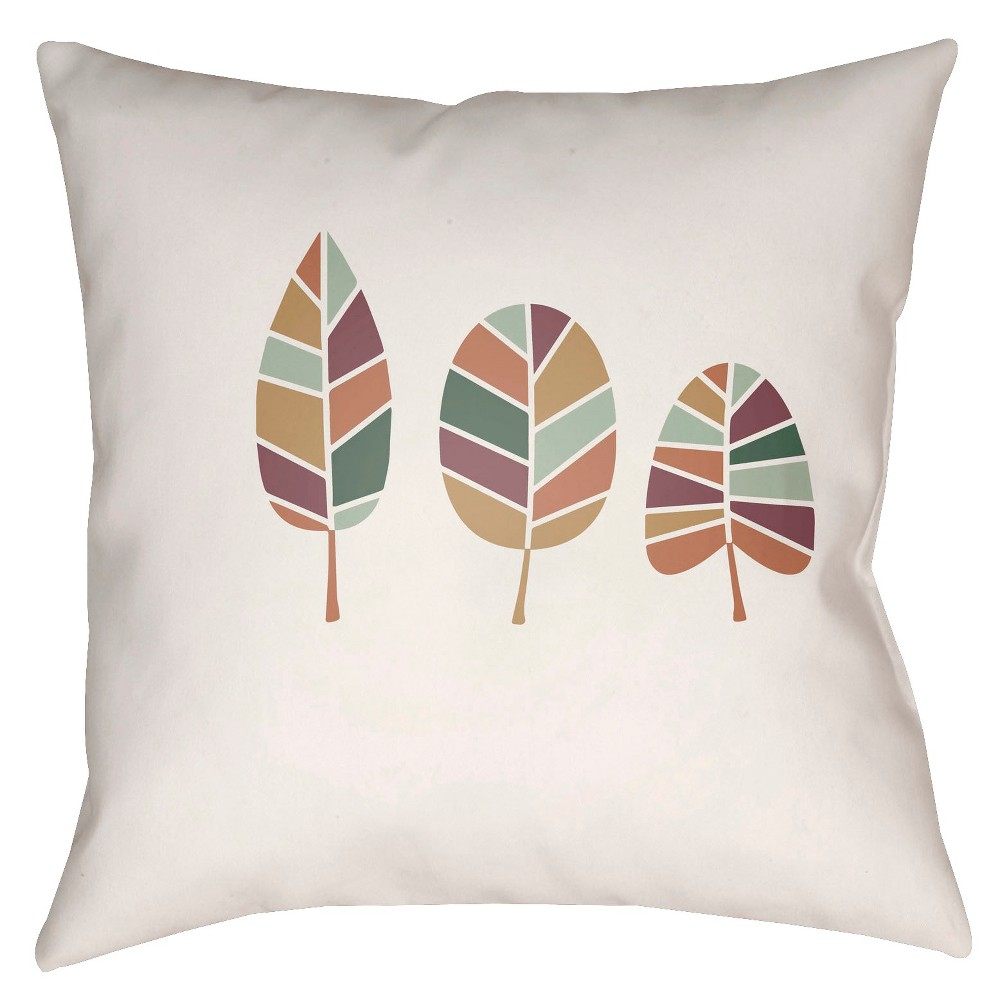 Cream/Mint (Ivory/Green) Leaves Throw Pillow 16