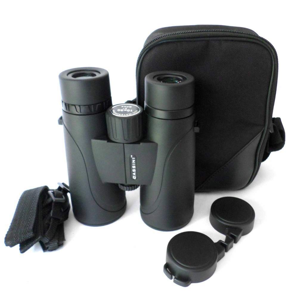 Image of Cassini 10mmx50mm Water and Fog Proof Roof BAK-4 Prism Binocular - Black