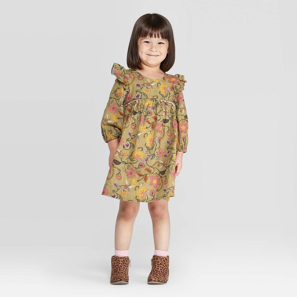 60s 70s Kids Costumes & Clothing Girls & Boys Toddler Girls Ruffle Floral Dress - art class Olive 5T Toddler Girls Green $17.99 AT vintagedancer.com