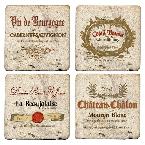 Thirstystone Wine Labels 4 Piece Travertine Coaster Set - image 1 of 1