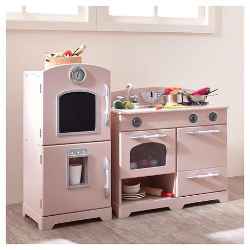 4addbc3f86b Teamson Kids Retro Wooden Play Kitchen - Pink (2pc)   Target