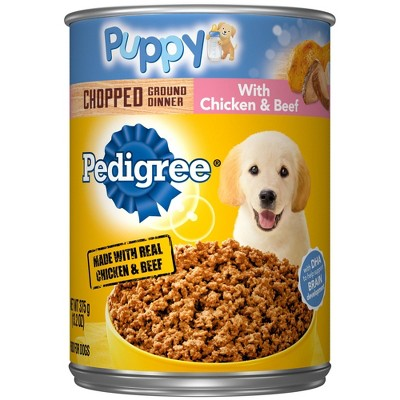 Pedigree Chopped Ground Dinner Wet Dog Food with Chicken & Beef Puppy - 13.2oz