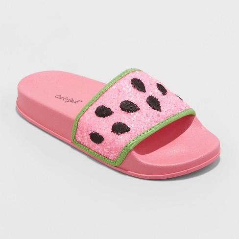 e1d8818cde9e Girls  Embellished Watermelon Pool Slide Glitter Sandals - Art Class™ Pink    Target
