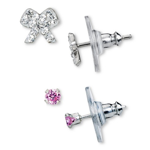 Sterling Silver Cubic Zirconia and White Crystal Bow and Round Stud Earrings Set - Silver (3mm) - image 1 of 1