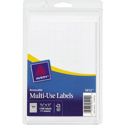 """Avery Removable Multipurpose Labels 1/2""""x5/16"""" 1100/PK White 05412"""
