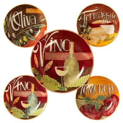 Certified International Bella Vita Ceramic 5pc Serving Bowl Set Red