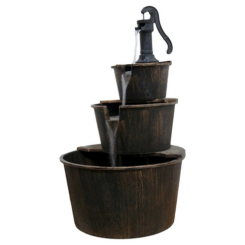 """Alpine Corporation 40"""" Three Tier Pump And Barrels Fountain - Brown - image 1 of 7"""