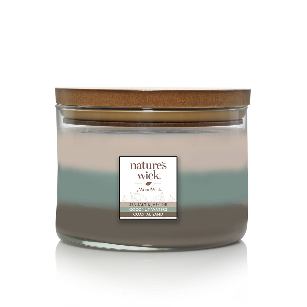 Image of 18oz Glass Jar 3-Wick Candles Sea Salt & Jasmine Trio - Nature's Wick