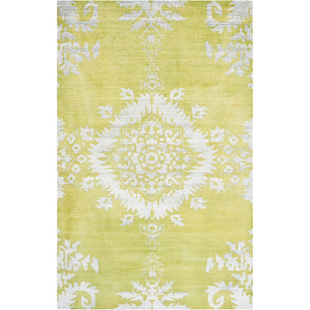 6'X9' Medallion Knotted Area Rug Yellow Green/Light Gray - Safavieh
