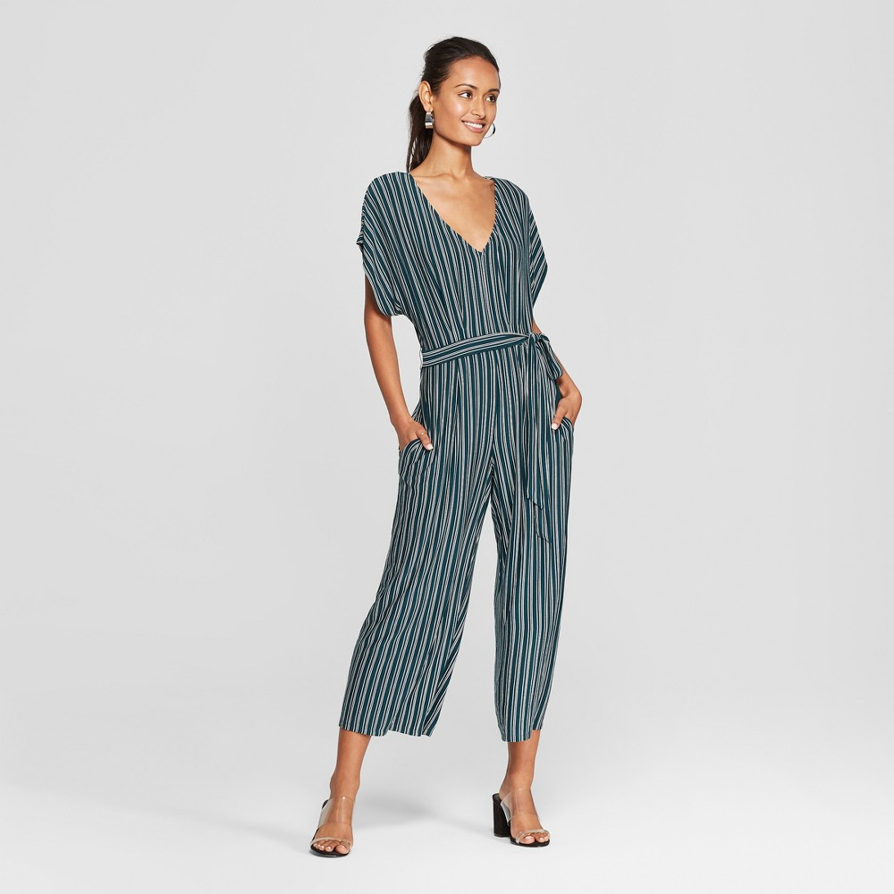 Women's Striped Short Sleeve Knit Jumpsuit - Lots of Love by Speechless (Juniors') Green/White M