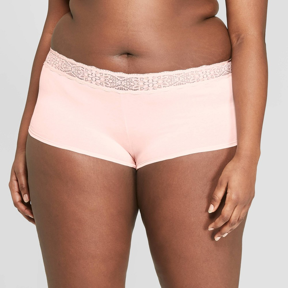 Women's Plus Size Cotton Boyshort with Lace Waistband - Auden Casual Pink 1X