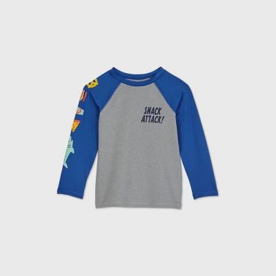 Toddler Boys' 'Snack Attack' Long Sleeve Rash Guard - Cat & Jack™ Gray/Blue