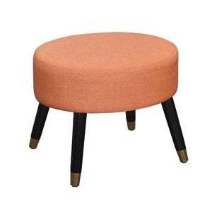 Mid-Century Modern Ottoman Stool Coral Faux Linen - Breighton Home