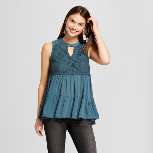 Women's Crochet Keyhole Tank - Knox Rose™ Dark Teal - image 1 of 2